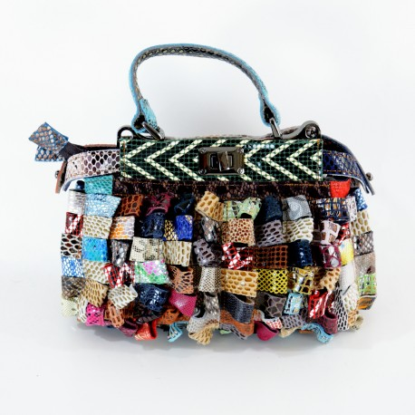 GENUINE LEATHER BAG PATCHWORK.DOUBLE OPENING